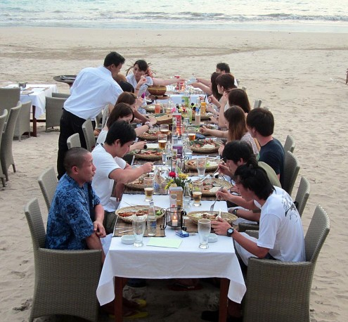 Group dinner at Jimbaran Bay Bali