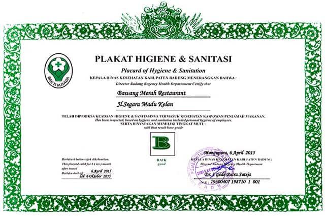 Certificate of Hygiene and Sanitation | Bawang Merah Restaurant ...