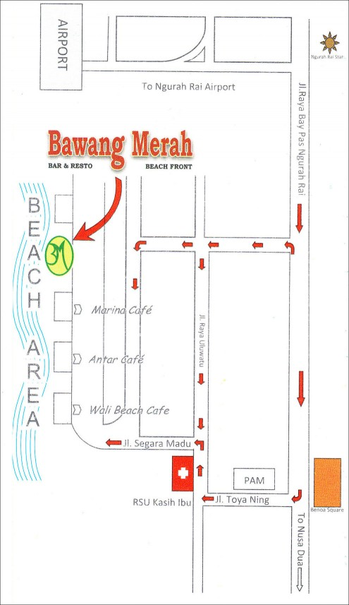 Map Bawang Merah Beach Restaurant