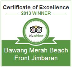 Bwang Merah Beachfront Restaurant certificate of excellence
