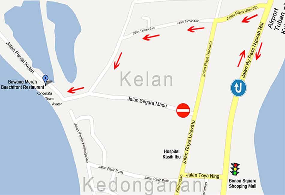 Map Bawang Merah Beachfront Restaurant