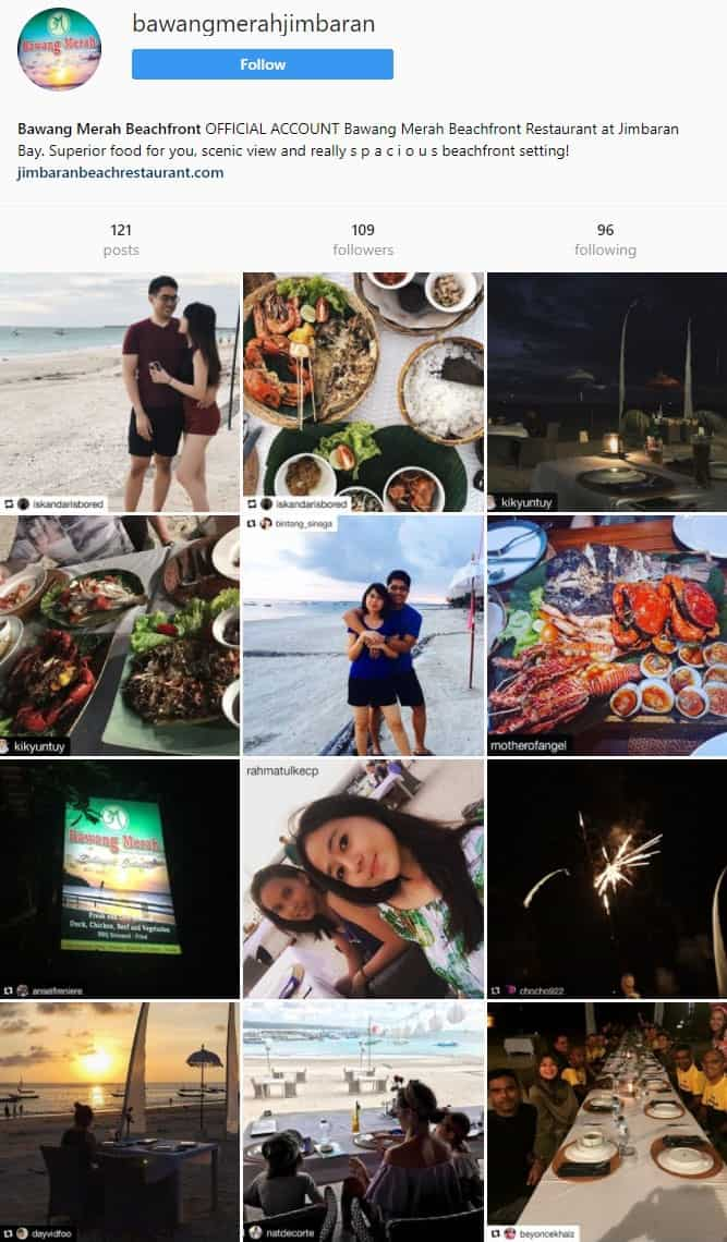 Official Instagram account Bawang Merah Beachfront Restaurant Jimbaran